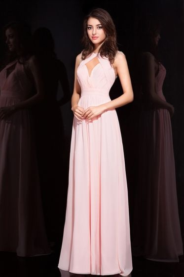 2015 Luxurious Backless Crystal Pleated Evening Dress