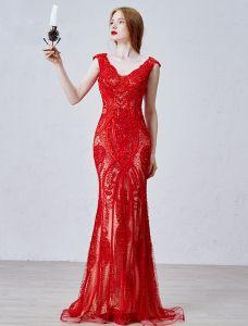 2016 Luxus-v-ausschnitt Handgefertigte Seidensatin-spitze-nixe Roten Langen Abendkleid