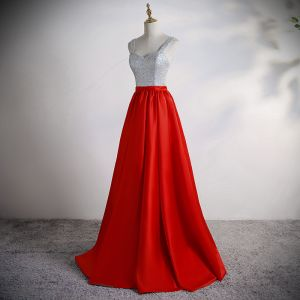 Zwei Töne Silber Rot Satin Ballkleider 2020 A Linie Schultern Ärmellos Pailletten Gespaltete Front Lange Rüschen Rückenfreies Festliche Kleider