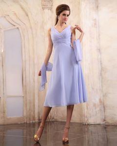 Schöne Rüsche V-ausschnitt Tee-länge Chiffon Mutter Der Braut Special Guests Kleid