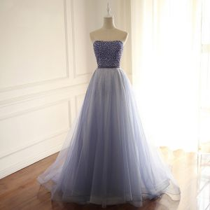 Chic / Beautiful Navy Blue Prom Dresses 2018 A-Line / Princess Beading Sequins Rhinestone Sweetheart Backless Sleeveless Sweep Train Formal Dresses