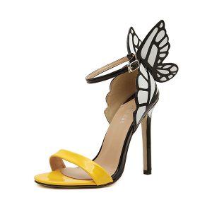 Trendy Frauen Sandalen Mit Schmetterlingsflügeln Und Farbblockdesign Hihg Heels