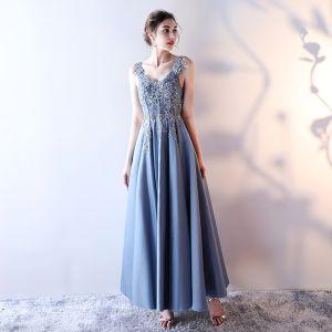 Schöne 2017 Meeresblau Abendkleider V-Ausschnitt Chiffon Handgefertigt Korsett Applikationen Rückenfreies A Linie Festliche Kleider