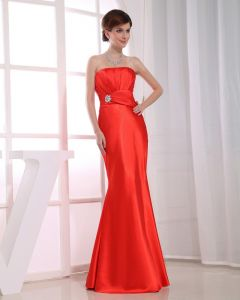 Strapless Floor Length Flower Beading Pleated Silk Mermaid Woman Evening Party Dress