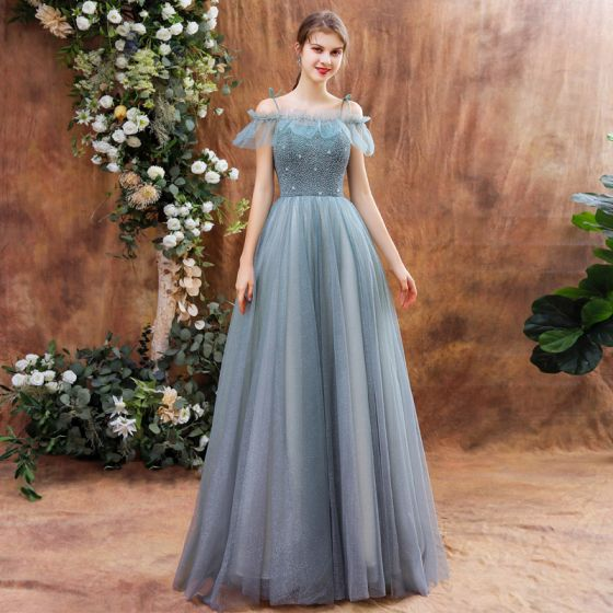 High-end Sage Green Dancing Prom Dresses With Shawl 2021 A-Line / Princess Spaghetti Straps Sleeveless Beading Glitter Tulle Floor-Length / Long Ruffle Backless Formal Dresses