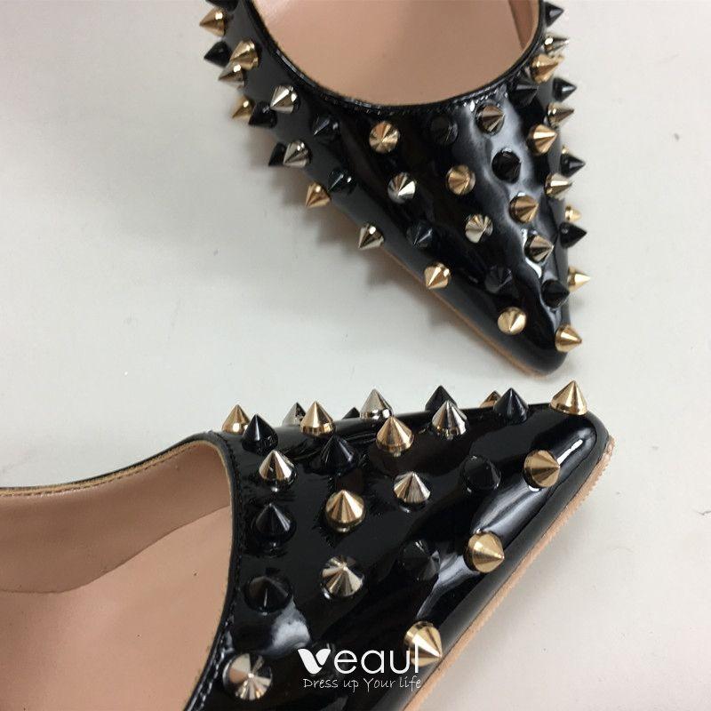 Amazing / Unique Black Evening Party Pumps 2019 Rivet 12 cm Stiletto Heels Pointed Toe Pumps