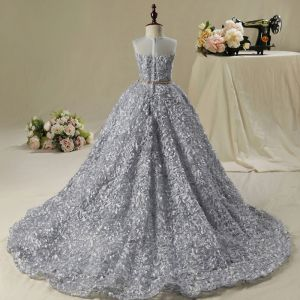 Chic / Beautiful Church Wedding Party Dresses 2017 Flower Girl Dresses Silver Ball Gown Asymmetrical Scoop Neck Sleeveless Rhinestone Metal Sash Appliques Flower