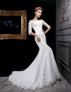 2015 Trumpet /Mermaid Square Neckline 1/2 Sleeves Lace Wedding Dresses