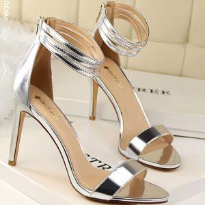 Elegant 2017 8 cm / 3 inch Black Gold Silver Casual PU Summer High Heels Stiletto Heels Pumps
