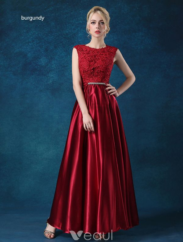 Elegant Sleeveless Evening Dresses 2016 A-line Scoop Neck Applique Lace Ruffle Satin Long Prom Dress With Bow Sash
