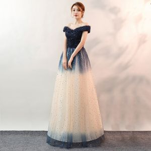 Fashion Gradient-Color Navy Blue Evening Dresses  2020 A-Line / Princess Off-The-Shoulder Lace Sequins Sleeveless Backless Floor-Length / Long Formal Dresses