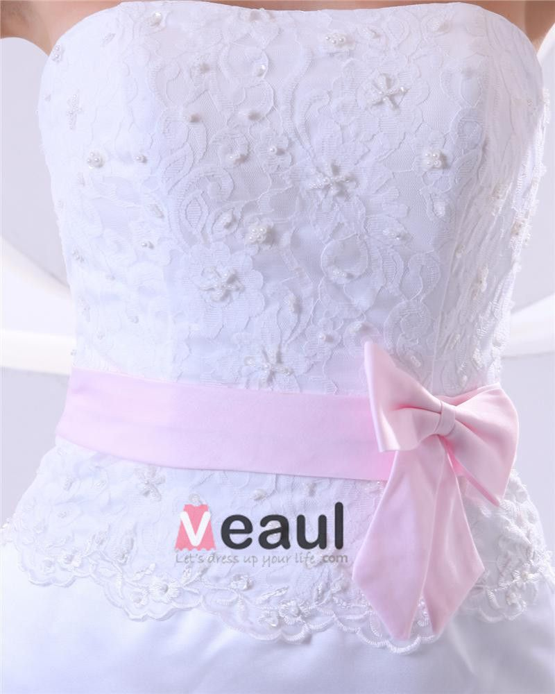 Satin Lace Embroidery Sweetheart Cathedral Train Sheath Wedding Dresses
