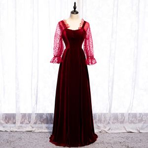 Elegant Burgundy Prom Dresses 2020 A-Line / Princess Square Neckline Spotted Suede Long Sleeve Backless Floor-Length / Long Formal Dresses
