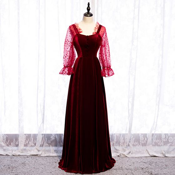 Elegant Burgundy Prom Dresses 2020 A-Line / Princess Square Neckline Spotted Suede Long Sleeve Backless Floor-Length / Long Formal Dresses