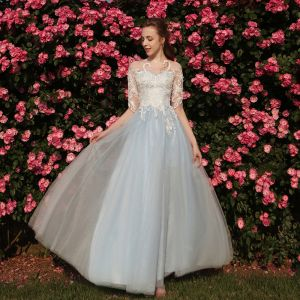 Chic / Beautiful Sky Blue Prom Dresses 2018 A-Line / Princess Appliques Scoop Neck 1/2 Sleeves Floor-Length / Long Formal Dresses