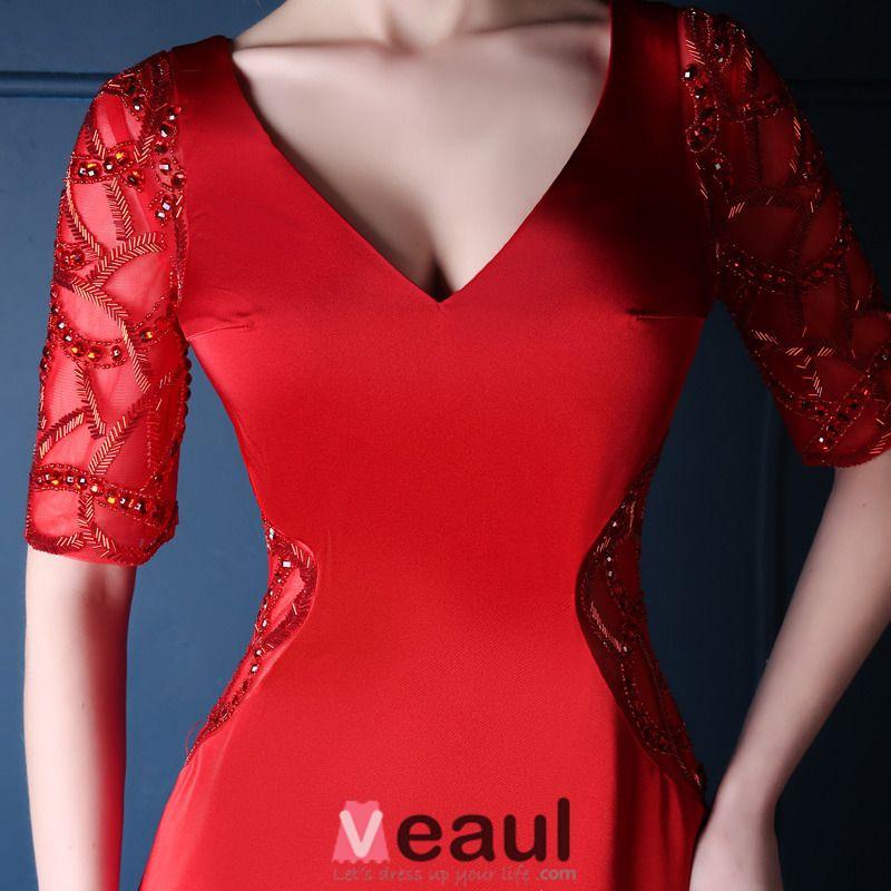 2015 Sirène V-cou Épaules 1/2 Manches De Partie Arrière Exquise Robe Longue De Soirée Rouge Pas Cher