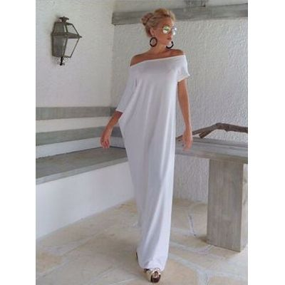 Modest / Simple Casual White Maxi Dresses 2018 Off-The-Shoulder Backless Short Sleeve Floor-Length / Long Womens Clothing