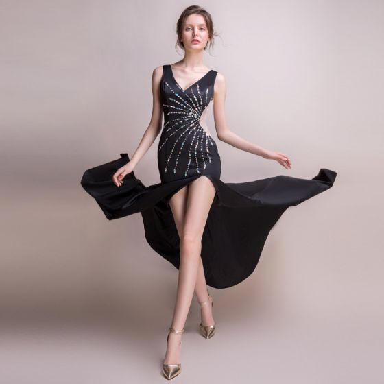 fa4a1cb3410 Sexy Noire Transparentes Robe De Soirée 2018 Trompette   Sirène V-Cou Sans  Manches Faux Diamant Perlage Fendue ...