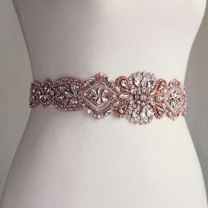 Chic / Beautiful Rose Gold Prom Sash 2020 Satin Metal Handmade  Beading Crystal Pearl Rhinestone Evening Party Accessories