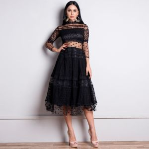 Illusion Black Lace See-through Evening Dresses  2020 A-Line / Princess High Neck 3/4 Sleeve Spotted Tulle Pierced Appliques Lace Tea-length Ruffle Formal Dresses