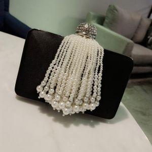 Elegant 2017 Black Leaf Pearl Rhinestone Taffeta Outdoor / Garden Clutch Bags