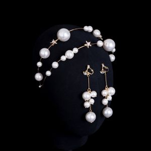 Chic / Beautiful Gold Bridal Jewelry 2020 Metal Pearl Rhinestone Earrings Headpieces Bridal Hair Accessories