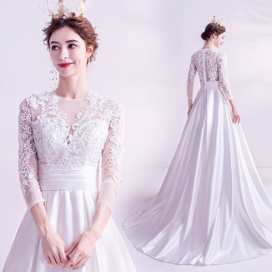 Elegant Ivory Prom Dresses 2020 A-Line / Princess Scoop Neck 3D Lace Beading Rhinestone Sequins 3/4 Sleeve Court Train Formal Dresses