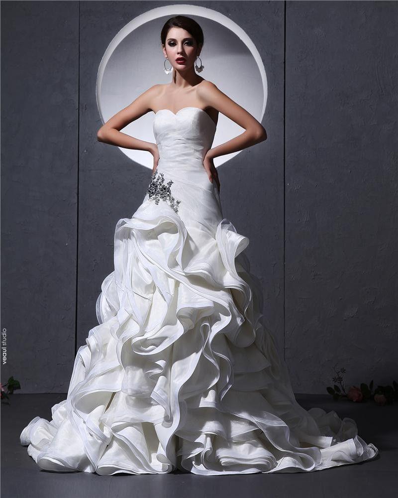 Elegant Organza Ruffles Sweetheart Chapel Train Bridal Mermaid Wedding Dress