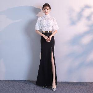 Chic / Belle Robe De Soirée 2018 Empire Métal Ceinture Dentelle Gland Col Haut 1/2 Manches Longue Robe De Ceremonie