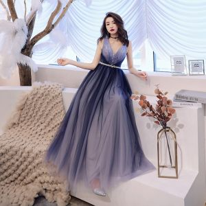 Chic / Beautiful Navy Blue Evening Dresses  2019 A-Line / Princess Deep V-Neck Sleeveless Pearl Sash Floor-Length / Long Ruffle Backless Formal Dresses
