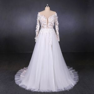 Charming White See-through Bridal Wedding Dresses 2020 A-Line / Princess Long Sleeve Deep V-Neck Backless Appliques Lace Beading Split Front Court Train