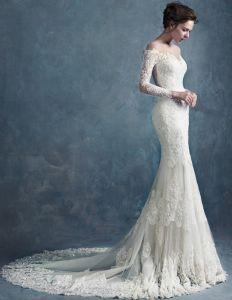 Slim Tunn Spets Retro Brud- Halv Hylsa Avslutande Brudklänning Bröllopsklänningar