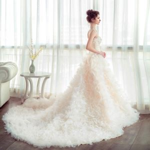 Chic / Beautiful Church Hall Wedding Dresses 2017 Flower Lace Appliques Pearl Beading Rhinestone Strapless Sleeveless Backless Cathedral Train Champagne