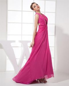 Halter Sleeveless Cross Belt Floor Length Pleated Chiffon Woman Prom Dress