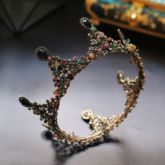 Vintage Farbig Strass Diadem 2020 Gold Legierung Haarschmuck Braut