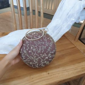 Chic / Beautiful Brown Appliques Sequins Round Clutch Bags 2020