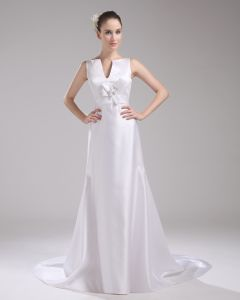 Fashion Satin Flower V Neck Floor Length Empire Wedding Dress