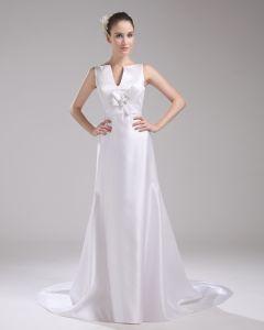 Fashion Satin Flower V Neck Floor Length Empire Wedding Dress