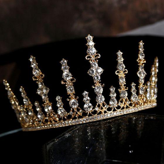 Klassisch Gold Strass Haarschmuck Braut  2020 Metall Diadem Hochzeit Brautaccessoires