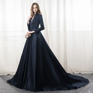 Chic / Beautiful Navy Blue Evening Dresses  2018 A-Line / Princess Beading Sequins High Neck Long Sleeve Chapel Train Formal Dresses