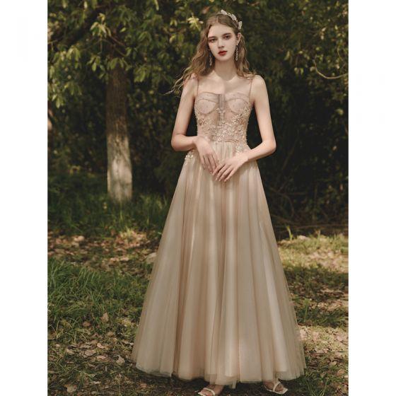 Piękne Szampan Sukienki Na Bal 2021 Princessa Spaghetti Pasy Z Koronki Kwiat Bez Rękawów Bez Pleców Długie Sukienki Wizytowe