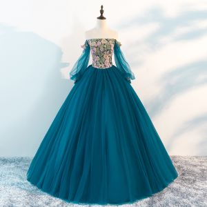 Chic / Beautiful Ink Blue Prom Dresses 2018 A-Line / Princess Off-The-Shoulder Long Sleeve Appliques Lace Floor-Length / Long Ruffle Backless Formal Dresses