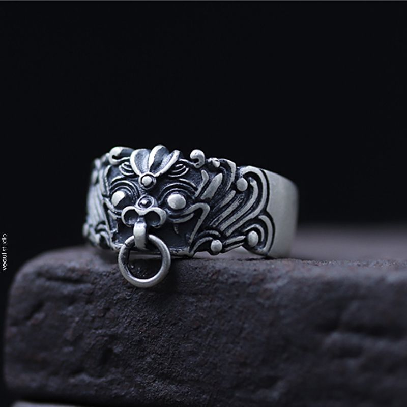 Vintage / Retro Silver Handmade  Graphic Faith Ring Sterling Silver Rave Club Rings 2019 Accessories