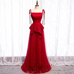 Classy Red Evening Dresses  2020 A-Line / Princess Spaghetti Straps Glitter Star Sequins Sleeveless Backless Floor-Length / Long Formal Dresses