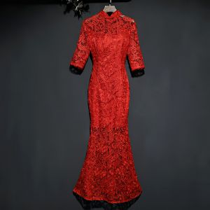 Chinesischer Stil Rot Abendkleider 2019 Meerjungfrau Stehkragen Durchsichtige Spitze Blumen 1/2 Ärmel Lange Festliche Kleider