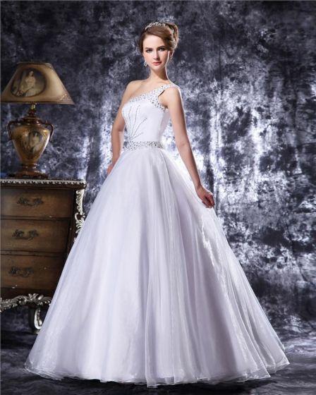 Elegante Perler Gulv Lengde En Skulder Satin En Linje Brudekjoler Bryllupskjoler