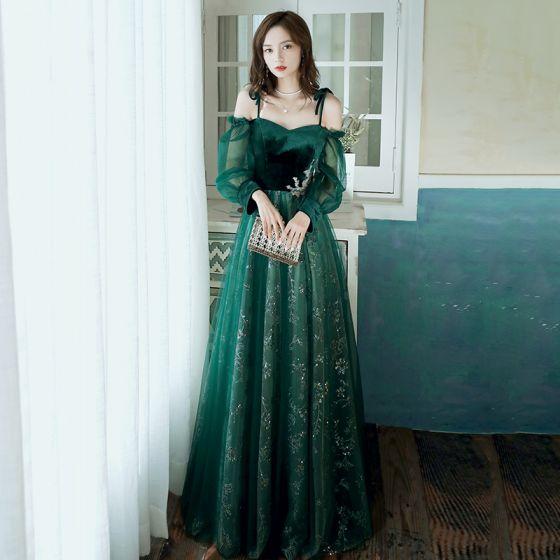 Elegant Dark Green Evening Dresses  2020 A-Line / Princess Off-The-Shoulder Puffy Long Sleeve Glitter Sequins Tulle Floor-Length / Long Ruffle Backless Formal Dresses