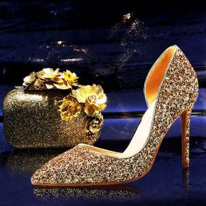 Scintillantes Doré Chaussure De Mariée 2018 Paillettes Cuir À Bout Pointu Talons Hauts