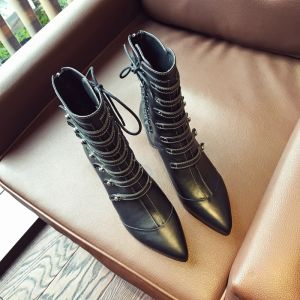 Modern / Fashion Casual Black Womens Boots 2019 Leather 6 cm Thick Heels Pointed Toe Boots