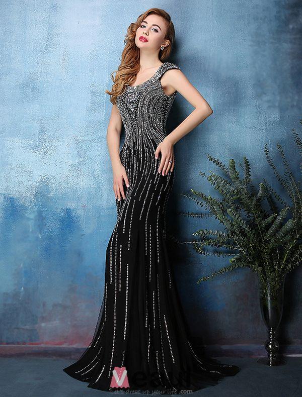 2016 Sexy Dos Nu Brillant Sirène Perles Strass Cristal Robe De Soirée Noire